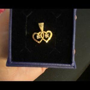 10K Yellow Gold w/ Diamonds Double Heart Pendant
